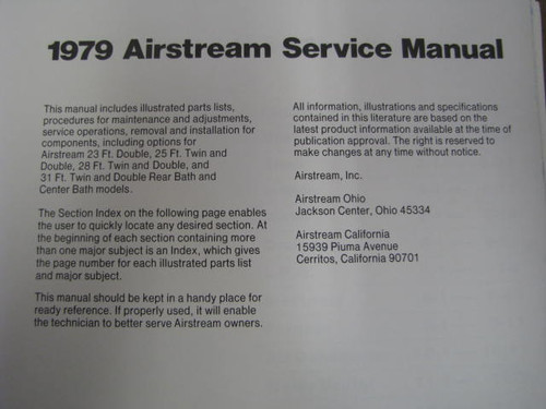 1979 Airstream Service Manual (BL008) INTERIOR PAGE