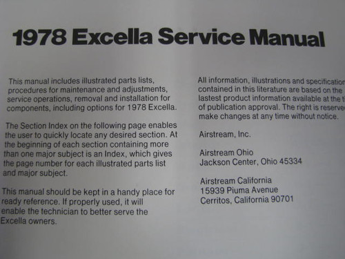 1978 Airstream Excella Service Manual (BL014) INTERIOR PAGE