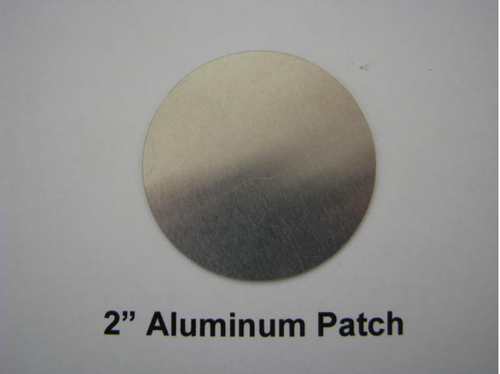 "Aluminum Round Patch - 2"" - (CBP002) FRONT OVERHEAD VIEW"