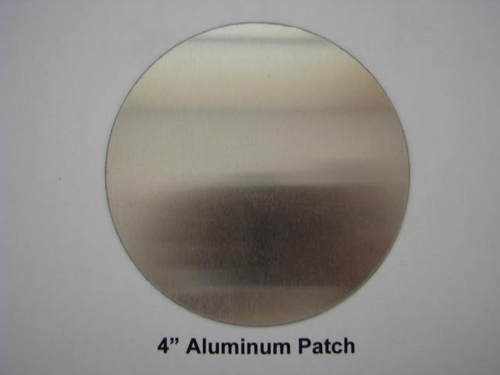 "Aluminum Round Patch - 4"" - (CBP004) FRONT OVERHEAD VIEW"