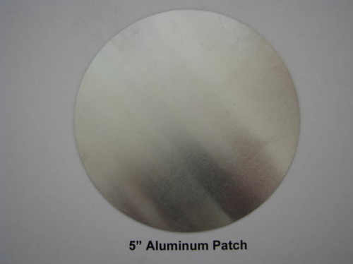 "Aluminum Round Patch - 5"" - (CBP005) FRONT OVERHEAD VIEW"