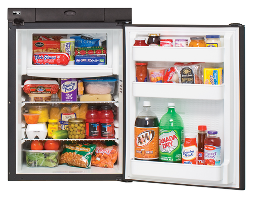 NORCOLD N305 REFRIGERATOR 2.7 CU. FT. - 3 WAY (07-1002) FRONT VIEW WITH OPEN DOOR (FOOD FOR DEMONSTRATION PURPOSES NOT INCLUDED)