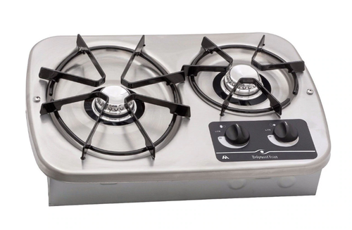 Dometic (Atwood) DV20S Drop-in 2-Burner LP Cooktop - Stainless (07-1010) TOP VIEW