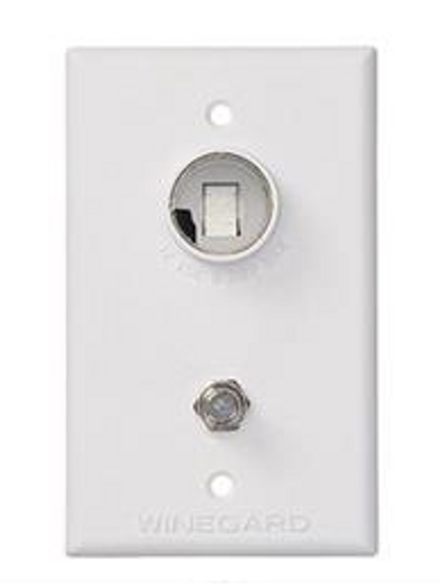 TV OUTLET with 12 VOLT RECEPTACLE - WHITE (24-1000)