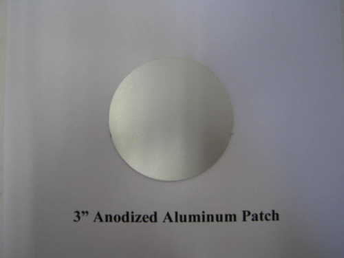 "Aluminum Round Patch 3"" - Anodized -(CBP021) FRONT OVERHEAD VIEW"