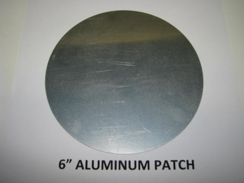 "Aluminum Round Patch - 6"" - (CBP006) FRONT OVERHEAD VIEW"
