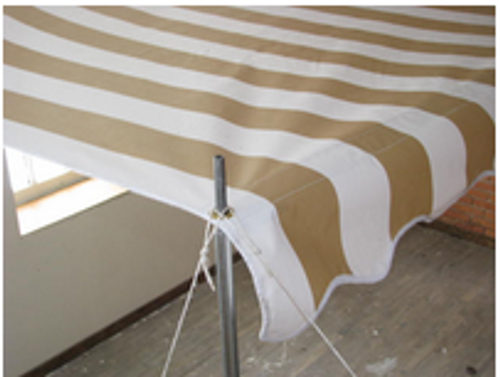8' Rope and Pole Awning Gold and White (01-5000)