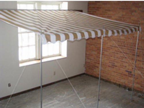 12' Rope and Pole Awning Gold and White (01-5002)