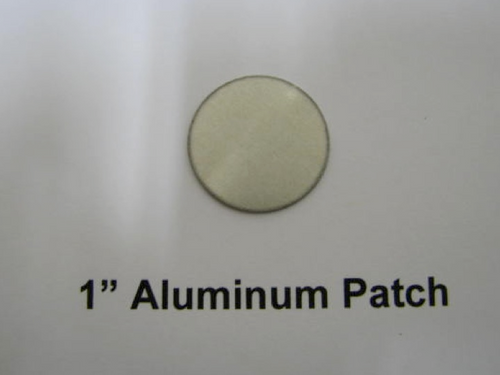 "1"" Aluminum Round Patch with Adhesive - (CBP037) FRONT OVERHEAD VIEW"