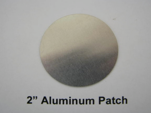 "2"" Aluminum Round Patch with Adhesive -(CBP038) FRONT OVERHEAD VIEW"
