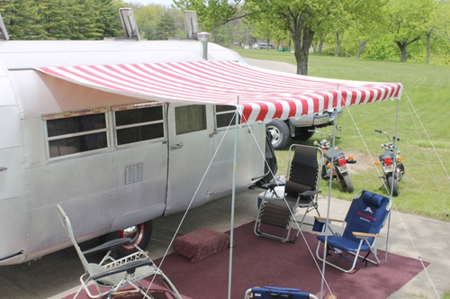 8' Rope and Pole Awning Red and White (01-5004)
