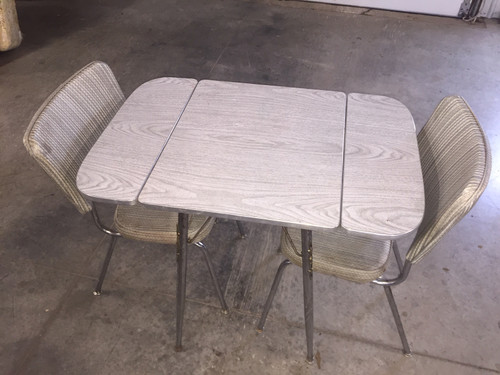 50's Vintage Chrome Drop Leaf Table & 2 Chairs