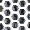 Black Labradorite/Larvikite 16x18mm Top Drilled Hexagon Pendant - 1 per bag