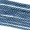 Hematite 3mm Electroplated Blue Round Beads - approx. 8 inch strand
