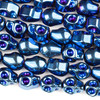 Hematite 8x10mm Electroplated Blue Skull Beads - approx. 8 inch strand