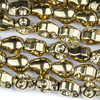 Hematite 8x10mm Electroplated Gold Skull Beads - approx. 8 inch strand
