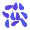 Matte Glass, Sea Glass Style 8-10X16-21mm Royal Blue Teardrop Nugget Pendants - 10 per bag