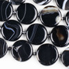 Black and White Banded Agate/Sardonyx 30mm Coin Beads - 16 inch knotted strand