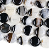 Black and White Agate 6x20mm Coin Beads - 15.5 inch knotted strand