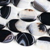 Black and White Agate 25x35mm Oval Beads - 16 inch knotted strand