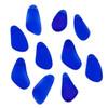Matte Glass, Sea Glass Style 10-15x21x28mm Royal Blue Free Form Nugget Drop Pendants - 10 per bag