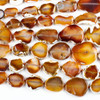 Dyed Agate 16-42x20-50mm Burnt Orange and White Graduated Slab Nugget Beads with Natural Edge - 19 inch strand