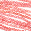 Dyed Jade 4mm Coral Pink Faceted Round Beads - 8 inch strand