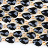 Crystal 13x18mm Opaque Black Faceted Teardrop Beads with Golden Foil Edges - 9 inch strand