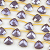 Crystal 12x13mm Opaque Purple Faceted Top Drilled Teardrop Beads with Golden Foil Edges - 7 inch strand