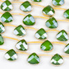 Crystal 12x13mm Opaque Green Faceted Top Drilled Teardrop Beads with Golden Foil Edges - 7 inch strand