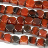 Red and Black Agate 10mm Faceted Cube/Nugget Beads - 16 inch strand