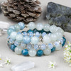 Apatite, Moonstone, and Aquamarine Elastic Stacking Bracelet Kit - bkit-018