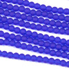 Matte Glass, Sea Glass Style 4mm Cobalt Blue Round Beads - 8 inch strand