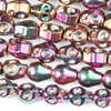 Hematite 8x10mm Electroplated Fuchsia Rainbow Skull Beads - approx. 8 inch strand