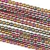 Hematite 3mm Electroplated Fuchsia Rainbow Round Beads - approx. 8 inch strand