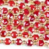 Crystal 10x12mm Opaque Red Faceted Hexagon Beads with Golden Foil Edges - 6 inch strand