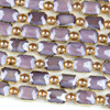 Crystal 10x14mm Opaque Purple Faceted Rectangle Beads with Golden Foil Edges - 7 inch strand