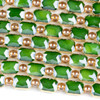 Crystal 10x14mm Opaque Green Faceted Rectangle Beads with Golden Foil Edges - 7 inch strand