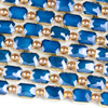 Crystal 10x14mm Opaque Navy Blue Faceted Rectangle Beads with Golden Foil Edges - 7 inch strand