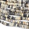 Black Silver Leaf Jasper 4-10mm Graduated Rondelle Beads - 16 inch strand
