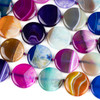 Dyed Agate 35mm Multicolored Coin Beads - 16 inch knotted strand