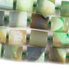 Dyed Agate 20x22mm Green Tube Beads - 16 inch knotted strand
