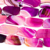 Dyed Agate 21x43mm Hot Pink Free Form Beads - 14 inch strand