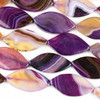 Dyed Agate 25x47mm Pink and Purple Marquis Beads - 15 inch strand