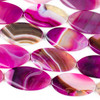 Dyed Agate 25x47mm Hot Pink Oval Beads - 15 inch strand