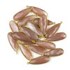 Peach Moonstone approximately 11x35mm Faceted Long Teardrop Drop with a Gold Plated Brass Bezel - 1 per bag