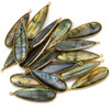 Labradorite approximately 15x48mm Long Teardrop Drop with a Gold Plated Brass Bezel - 1 per bag