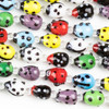Handmade Lampwork Glass 9x12mm Multicolored Ladybug Beads
