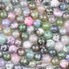 Cracked Agate 10mm Faceted Rounds in a Green and Pink Mix - 15.5 inch strand