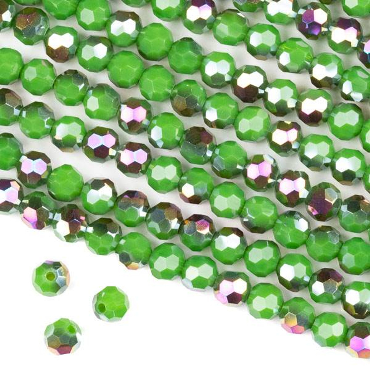 8 Inch Long Strand PARROT GREEN QUARTZ Micro Faceted Rondells,6mm Long,Great Price Amazing Item